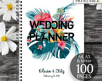 Printable wedding planner, Jungle wedding binder, Printable wedding checklist, Wedding to do list, Summer wedding planner, DIY wedding kit