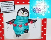 Digital Stamp, Digi Stamp, digistamp, Penguin Heartstrings, Valentine's, Mother's Day, Birthday, Christmas, heart, Coloring Page