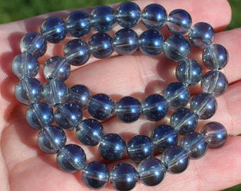 4 QUARTZ BEADS MULTICOLORED BLUE WITH A COATING OF TITANIUM 8 MM AA