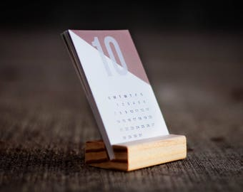2018 mini desk calendar with wood stand, stocking stuffer, mini, calendar, 2018, art, illustration, design, minimalistic, modern, home, desk