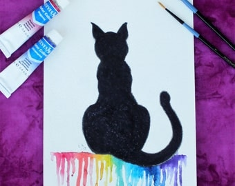 Black Cat, Watercolor Original Painting, Original Art, Original Painting, Mixxed Media Painting