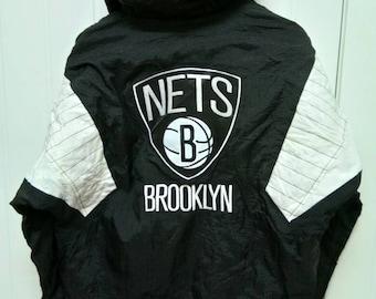 Rare Vintage Starter BROOKLYN NETS Quater Zip Big Logo Jacket