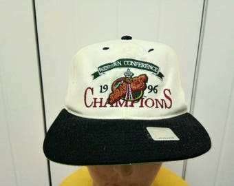 Rare Vintage 96' SEATTLE SONICS Western Conference Champions Big Logo Cap Hat Free Size Fit All