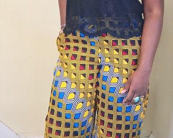 African Print Wide-Legged Pants // Elastic Waist Cotton Pants // No Lining // Right Pocket