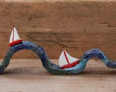 Seaside Ceramic Sculpture, Boats Sailing on the Sea, Loves the Seaside, Red and White, Unique Quirky Handmade