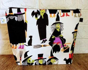 Knitting Project Bag, Knitting Bag Zipper, Halloween Project Bag,  Knitting Bowl, Sock Knitting Bag, Knitting Tote, Yarn Bowl, Witch Bag