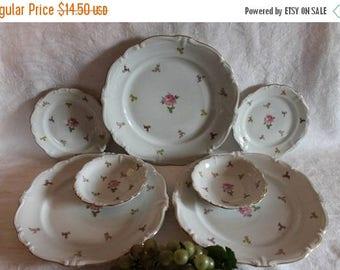 SALE Collection of Johann Haviland Rosebud Dinner Plates, Dessert Bowls, and Bread Plates