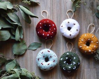 Hand knit ornament donuts