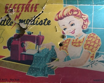 "Vintage children's kid's toy sewing machine ""little modiste"" electric miniature made in Japan"