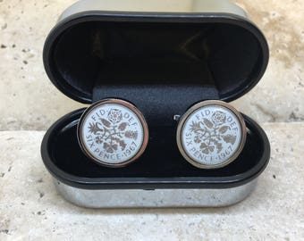 Hand enamelled white 1967 lucky sixpence coin cufflinks  - gift for him