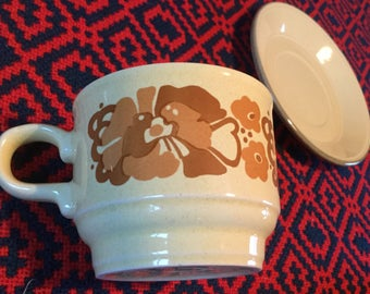 Staffordshire Pottery floral tea cups and saucers