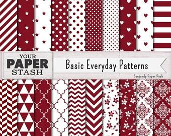 Burgundy Digital Paper, Christmas Scrapbook Paper, Elegant, Damask, Stripes, Chevron, Polka Dot Patterns & Backgrounds, Instant Download