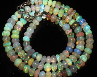 """65 Ctw 1Necklace 5to6 mm 16"""" Beads Natural Genuine Ethiopian Welo Fire Opal 42478"""