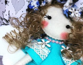 Angel fairy felt Rag doll ragdoll  doll  Ooak cloth doll collectible handmade by Cobesco's Creations