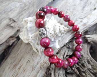 EXPRESS SHIPPING,Sterling Silver 925 Bracelet,Dark Pink Tiger Eye Bracelet,Stone Jewelry,Women Jewelry,Mother's Day Gifts,Christmas Gifts
