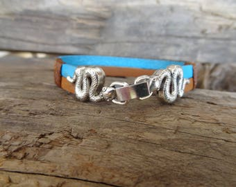 EXPRESS SHIPPING,Women Leather Bracelet,Turquoise,Camel Bracelet,Snake Clasp Bracelet,Leather Jewelry,Cuff,Bangle Bracelet,Christmas Gift