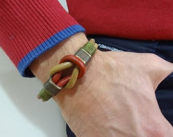 EXPRESS SHIPPING,Men's Burgundy,Camel Leather Bracelet,Men's Jewelry,Antiquing Magnetic Clasp Bracelet,Men Cuff Bracelet,Father's Day Gifts