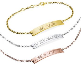 Personalized Bar Bracelet, Engraved Bracelet, Roman numerals Custom Name Gold Bar Bracelet Nameplate, Monogram Bracelet, Bridesmaid