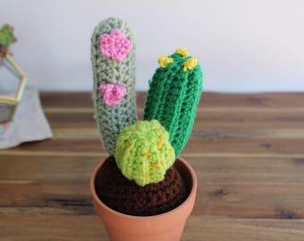 Bundle of Crochet Cactus-Crochet Plant-Home Decor-Office -Nursery-Gifts -Cactus Gift-Amigurumi Cactus-Yarn Plant-Fake Plant