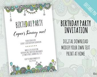 Birthday Party Invitation | EDITABLE PDF | Instant Digital Download | Modern Green Original Doodle Design