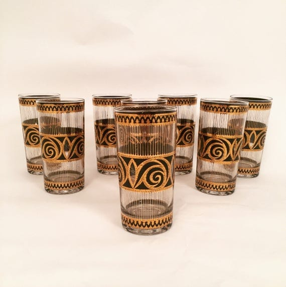 "Mid-Century 22K Gold & Black Highball drinking glasses from ""Culver"" company"