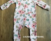 Baby girls floral one-piece, baby girl outfit, baby clothes, baby girl clothes, floral one-piece, flower outfit, baby girl pink outfit.