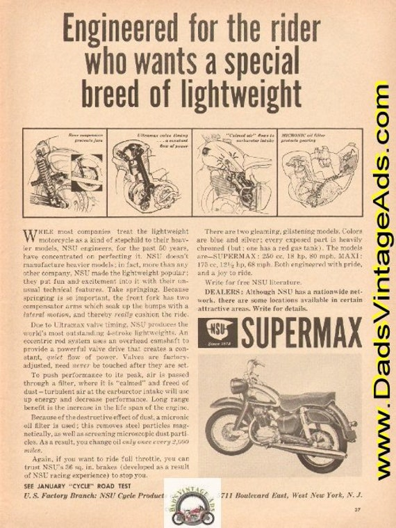 1960 NSU Supermax ''special breed of lightweight'' Ad #e61ca02