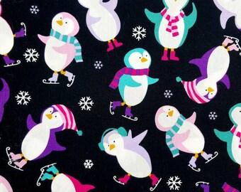 Penguin Winter Fabric, Christmas Fabric, Xmas Crafts Fabric, Ice-skating, Snowflake, Penguins, Craft Fabric, Cotton Fabric, Upholstery