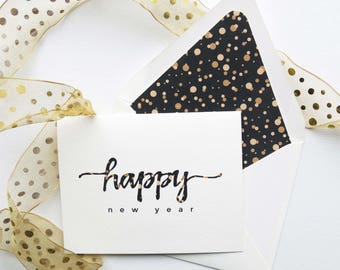 Happy New Year! Greeting Cards - Happy 2018 Note Cards - Black and Gold Confetti Dots