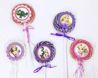 Tangled Rapunzel | Lollipops Set of 10 , Dessert Table, Candy Favors, Swirl Lollipops, Fruity, Candy Bar