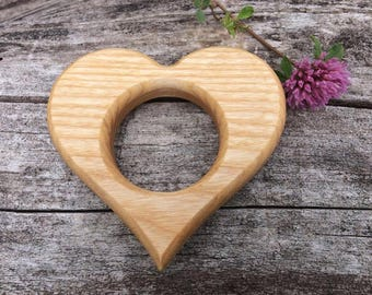 Organic Wooden Teething Ring, Natural Wooden Baby Teether, Eco-friendly Teething Ring, Montessori / Waldorf Wood Toys, Baby Shower Gift