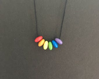 Rainbow necklace // Wooden jewelry // Pride necklace // Tiny beads
