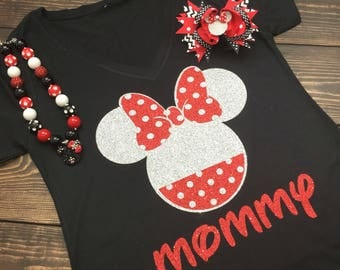 Glitter Minnie Shirt | Disneyworld Shirt | Disney Shirt For Women | Minnie Birthday Shirt | Personalized Minnie Shirt | Minnie Birthday