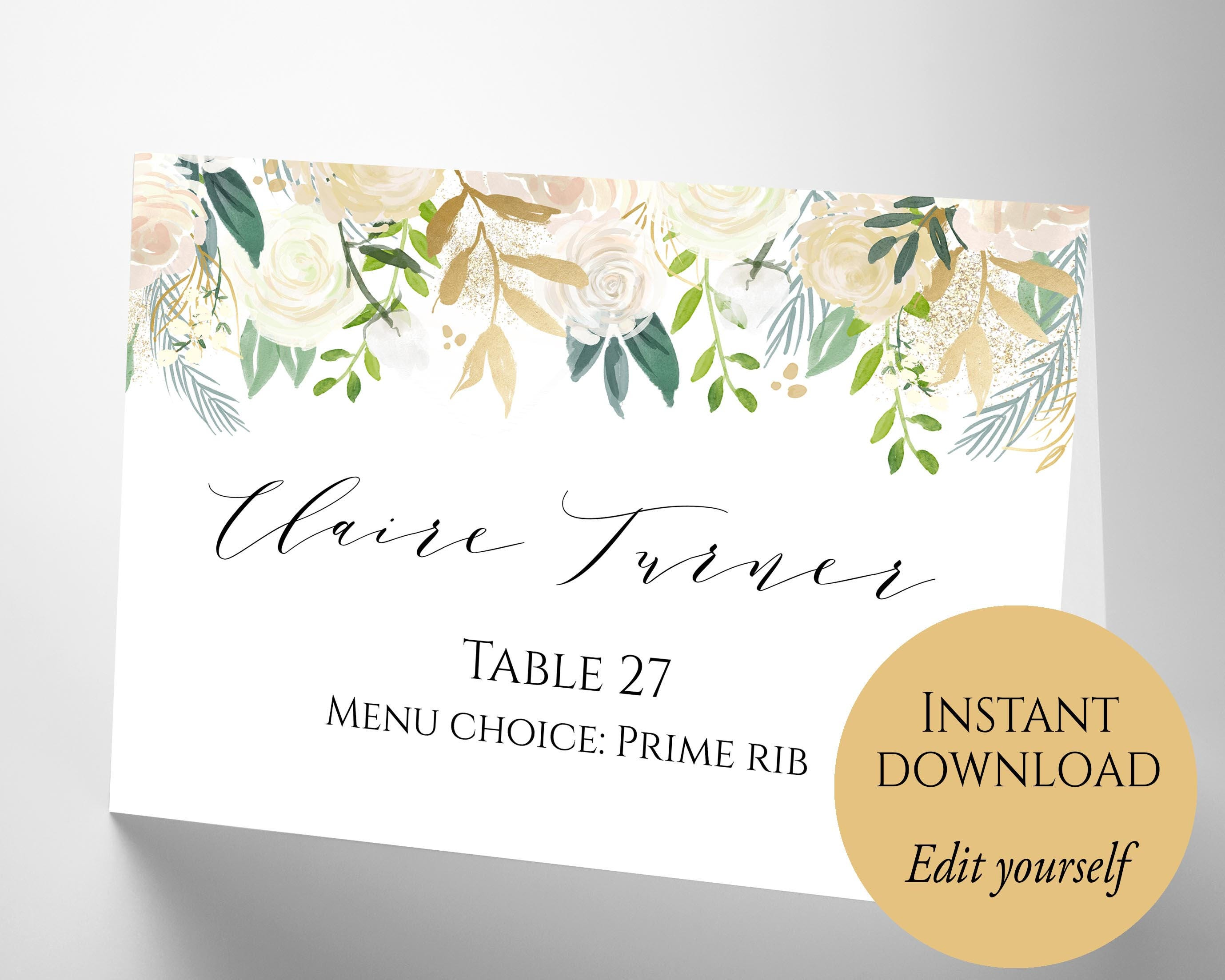 Place Cards, Place Cards Wedding, Place Card Template, PDF Template ...