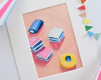 Liquorice All Sorts II. Small Acrylic Painting. Sweets. Candy. Modern Art. Pop Art. Contemporary Painting. Peach. Blue. Canvas Wall Art