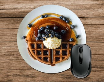 Waffles Mouse Pad, Waffles with Blueberries, Round Mouse Pad, Funny Mouse Pad, Office Gift, Co-Worker Gift, Boss Gift, Student Gift