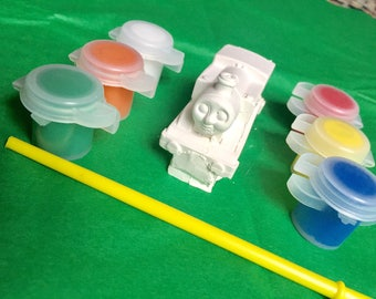 Thomas Train inspired Party Favors,train party favors, Thomas party favors.3D DIY,made to paint,comes with paint and brush. Boys girls, gift