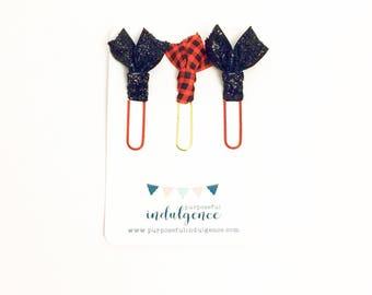 Buffalo Plaid Paper Clip Set - Black Glitter, Buffalo Plaid, Red, Gold - Desk Accessories - #Basic Collection
