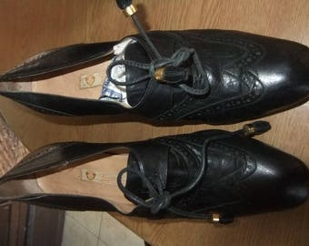 Gucci black leather court shoe sz petite 3/37.5 1960s