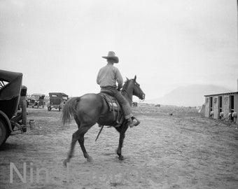 1920s Rodeo, Colorado Springs, Colorado, United States, 1920s antique photo reprint, horses, Cowboy