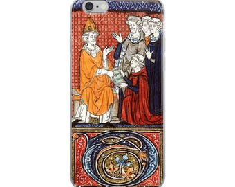 Medieval iPhone case, illuminated manuscript with Middle Ages king, beautiful calligraphy