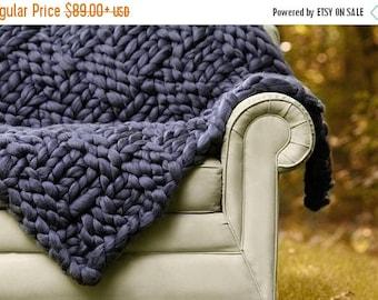 Chunky Knit blanket, Merino Blanket, Arm knit blanket, Merino wool blanket, Giant knit throw,