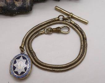 Antique Edwardian Pinchbeck Gentleman's watch chain and Enamel Mourning Locket