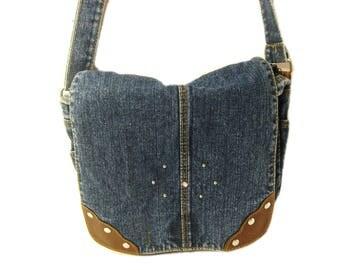 Vintage Blue Jean Handbag, Denim Purse, Crossbody Bag, Shoulder Bag