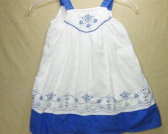 1990s Summer Dress, Sundress, Size 4T, Blue and White