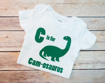 Boy Personalized Dinosaur Shirt, Brontosaurus, Dino Shirt, Baby Boy Dino, Baby Toddler Dino Shirt, Rawr Means I Love You in Dinosaur