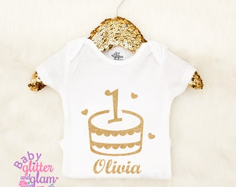 Personalized First Birthday Shirt, First Birthday Cake, First Birthday Cake Smash, Baby Girls 1st Birthday Girl Outfit