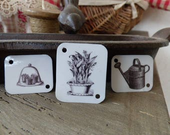 """metal labels rectangles collection """"in the garden"""""""