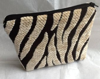 Zebra style makeup bag in super thick fabric Christmas gift under ten pounds