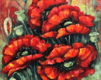 Red Poppies Time,  original oil painting on canvas